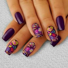 Choose from an Amazing Array of Nail Art Design Purple Nail Art, Purple Nail Designs, Nail Art Designs, Get Nails, Stylish Nails, Nagel Gel, Gel Nail Art, Flower Nails, Creative Nails