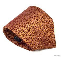 """Salvatore Ferragamo Silk Necktie Tie Woven Rust Leaves 60 1/2"""" x 3 1/2"""" EUC #SalvatoreFerragamo #NeckTie"""