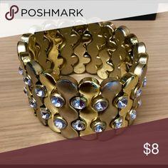 Wide gold and rhinestone stretch bracelet Gold stretch bracelet Jewelry Bracelets
