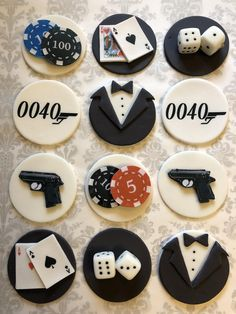Your place to buy and sell all things handmade 70th Birthday Cake, 18th Birthday Party, Birthday Cupcakes, Birthday Party Decorations, James Bond Cake, James Bond Party, James Bond Theme, Fondant Toppers, Fondant Cupcakes