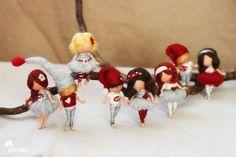 broches muñecas de fieltro de aguja inspiró por PETRUSKAfairyworld