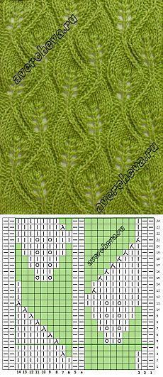 узор 588 «ажурные листики»   каталог вязаных спицами узоров   Вязание на спицах   Постила