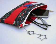 Stars pleated Clutch Purse zippered Pouch summer by ValkinThreads, $28.00