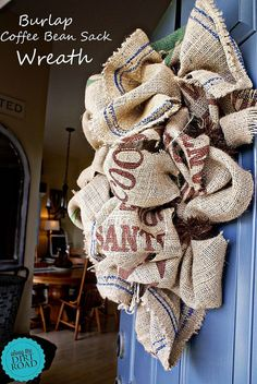 Burlap Coffee Bean Sack Wreath - Are you wanting something trendy, for your fall front door, that doesn't cost a bundle? This burlap coffee bean sack wreath is… Burlap Projects, Burlap Crafts, Diy Projects, Diy Crafts, House Projects, Coffee Bean Sacks, Buy Coffee Beans, Coffee Cup, Coffee Bean Decor