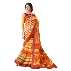 Party Wear Super Net Yellow & Orange Saree - RKSAVT328