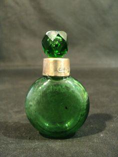 Emerald Green Glass Perfume Scent Bottle English Sterling Rim C 1890s | eBay