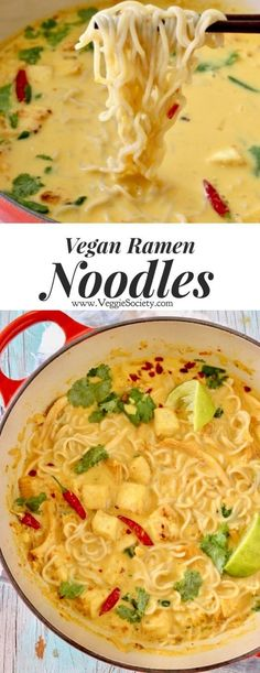 Easy vegan ramen noodles with tofu in a miso coconut broth ⭐️⭐️⭐️⭐. - Easy vegan ramen noodles with tofu in a miso coconut broth ⭐️⭐️⭐️⭐️⭐️ - Vegetarian Ramen, Vegetarian Recipes, Healthy Recipes, Vegetarian Lifestyle, Tofu Recipes, Vegetarian Cooking, Pasta Recipes, Dinner Recipes, Vegetable Ramen