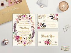 Floral Wedding Invitation Printable or Printed Boho Wedding Invitation Suite Bohemian Wedding Invite Floral Wreath Fall Wedding invite Set by DigartDesigns on Etsy https://www.etsy.com/listing/264056499/floral-wedding-invitation-printable-or