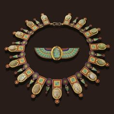 EGYPTIAN-REVIVAL GOLD, STEATITE AND FAIENCE SCARAB AND MICROMOSAIC NECKLACE AND BROOCH, CASTELLANI, CIRCA 1860