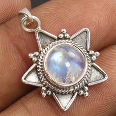 Tribal Art 925 Solid Sterling Silver Pendant Natural RAINBOW MOONSTONE Gemstone #Unbranded #Pendant