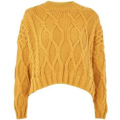 TopShop Cropped Cable Sweater (€29) ❤ liked on Polyvore featuring tops, sweaters, jumper, topshop, mustard, cable sweaters, yellow top, acrylic sweater, cropped sweaters and crop tops