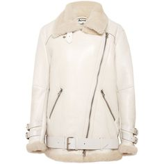 Acne Womens Velocity Lamb Fur Jacket (£1,015) ❤ liked on Polyvore featuring outerwear, jackets, coats, outer, white, white zip jacket, white zipper jacket, zipper jacket, oversized bomber jackets and oversized jacket