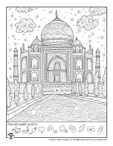 Difficult Hidden Pictures for Kids - World Travel Hidden Object Games, Hidden Objects, Taj Mahal, Free Printable Coloring Pages, Coloring Pages For Kids, Hidden Picture Games, Hidden Pictures Printables, India For Kids, Sailor Moon