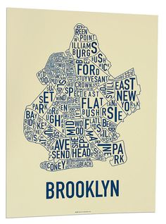 Original Brooklyn Typographic Neighborhood Map by orkposters