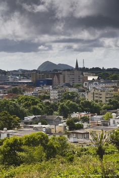 Mauritius, Central Mauritius, Curepipe, Town from Trou aux Cerfs crater