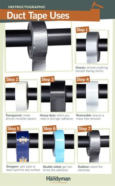 DIY Tutorial: Duct Tape Uses. You've probably noticed that duct tape comes in a variety of materials, sizes and designs. Learn about the common varieties of duct tape and how to use them in projects around the house.