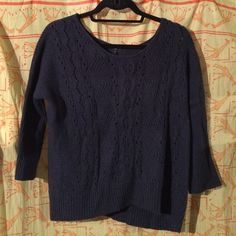 Blue Sweater Navy blue sweater with 3/4 sleeves. It was a loose boxy fit. It looks very flattering. GAP Sweaters Crew & Scoop Necks