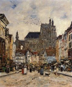Abbeville, Street and the Church of Saint-Vulfran Eugène-Louis Boudin, 1894