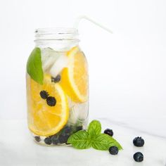 Drink Healthier Beverages ~ Orange Blueberry Basil: 3 Orange Slices, 15 Blueberries & 3 Basil Leaves. ust place ingredients in a 32-ounce mason jar, and fill with 22 ounces filtered or sparkling water. Stir gently, cover, and refrigerate at least 1 hour (longer for more intense flavor). Store in refrigerator up to 3 days. Drink up!