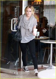Cute and cozy street style on Hilary Duff. Watch Hilary on the latest episode of Younger on TV Land at http://www.tvland.com/shows/younger.