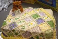 Perfect cake project for a quilter...this is so cute and employs several different frosting techniques...great practice!