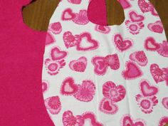Special Needs Bib Child.  Child bib. Valentines Pink Hearts Reversible. Flannel Terry Cloth bib. Choice velcro or snaps. Child Special Needs by NammersCrafts on Etsy