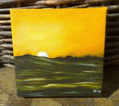 #SEASCAPE At Sunset 4 x 4 small #Canvas #painting by CastleOnTheHill, $20.00
