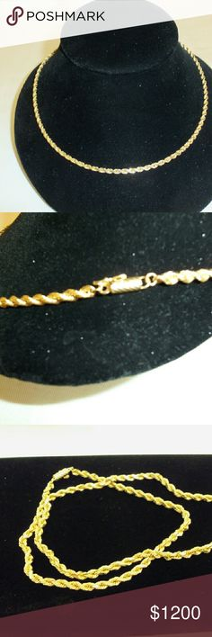 """14k YELLOW GOLD ROPE NECKLACE 21"""" 24.1gram Exquisite 14k Yellow Gold Rope Chain 24.1gram 21"""" Jewelry Necklaces"""