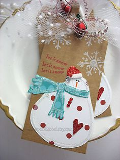 Red and Turquoise Snowman LUXE Gift Tags Set of TWO by pearliebird