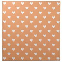 Orange With White Hearts Napkin Set
