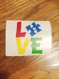 Autism Awareness LOVE car decal