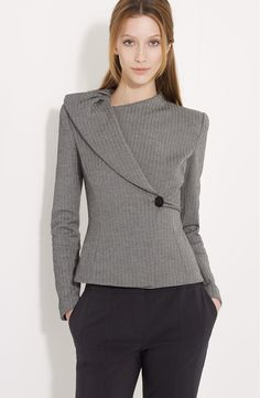 Free shipping and returns on Armani Collezioni Chevron Stripe Jacket at Nordstrom.com. A pleated lapel asymmetrically accents a tailored jacket with a button-and-loop closure at one side.