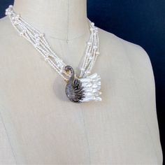 Freshwater Pearl Diamond Odette Swan Pendant Torsade Necklace | From a unique collection of vintage multi-strand necklaces at https://www.1stdibs.com/jewelry/necklaces/multi-strand-necklaces/