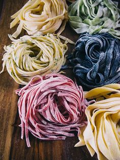 Fresh herbs, vegetable juices, and squid ink contribute the lovely colors to these beautiful batches of homemade pasta.