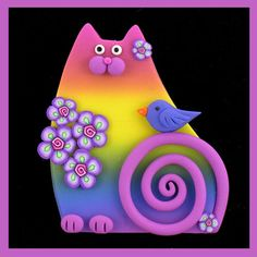Rainbow Kitty Cat & Blue Bird by artsandcats, via Flickr