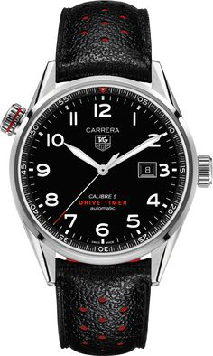 CARRERA CALIBRE 5 Drive TimerAutomatic Watch 43mm Black Cuero Correa | TAG Heuer