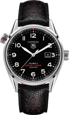 CARRERA CALIBRE 5 Drive TimerAutomatic Watch 43mm Black Cuero Correa | TAG Heuer