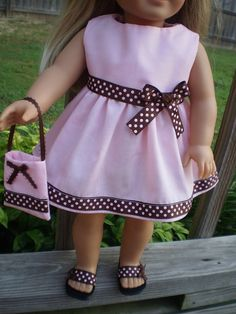 Love this pink and brown polka dot dress with matching sandals and purse