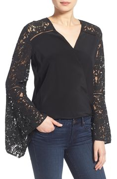 Bailey 44 'Stevie' Bell Sleeve Silk Surplice Top available at #Nordstrom