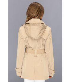 $87. Calvin Klein Belted Trench Coat w/ Removable Hood CW442840 Khaki - 6pm.com
