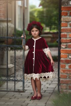 """Sewing For Kids Clothes """"ROSALINA DRESS BURGUNDY VELVET'' - Trish Scully designs distinctive, boutique children's clothing, shoes and accessories. Shop our collection of suits, dresses, shoes and more! Little Girl Christmas Dresses, Girls Fall Dresses, Little Girl Dresses, Holiday Dresses, Flower Girl Dresses, Toddler Christmas Dress, Baby Dresses, Trendy Dresses, Summer Dresses"""