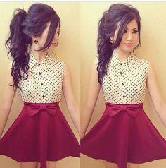 896164837568 White sleeveless polka dot shirt tucked into red highwaisted skater skirt  Date Outfits
