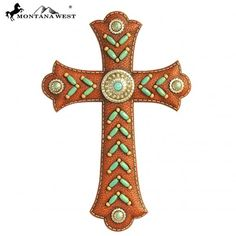 "Brown Color Faux Leather Resin Wall Cross $19.95 + Shipping  Faux Leather Wall Cross decorated with Indian beaded and silver conchos Measures approx : 8"" x 12 "" www.thecowboysway.com"