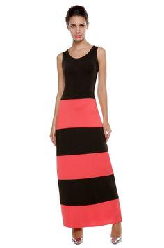 Fashion Women Sleeveless O-Neck Striped Contrast Color Maxi Casual Dresses