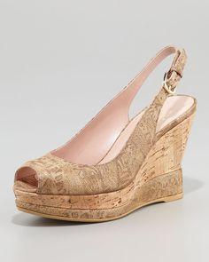 Jean Metallic Suede Cork Slingback Wedge Sandal - Lyst