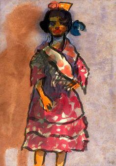 Standing Gypsy Girl - Emil Nolde - The Athenaeum Emil Nolde, Amedeo Modigliani, James Ensor, Karl Schmidt Rottluff, Art Moderne, Vincent Van Gogh, Watercolor Paintings, Watercolors, Figure Painting