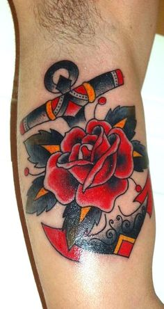 anchor-rose-tattoo