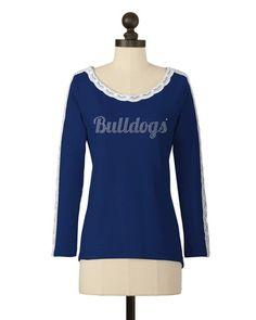 Citadel Bulldogs   Lace Sleeve Detail Top   meesh & mia
