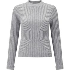 Miss Selfridge Ribbed Transfer Knitted Jumper (€14) found on Polyvore featuring women's fashion, tops, sweaters, grey, grey jumper, boxy sweater, rollneck sweaters, print sweater and grey ribbed sweater
