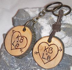His and Hers Keychain Set Made to Order by RusticCharmDesign, $14.50